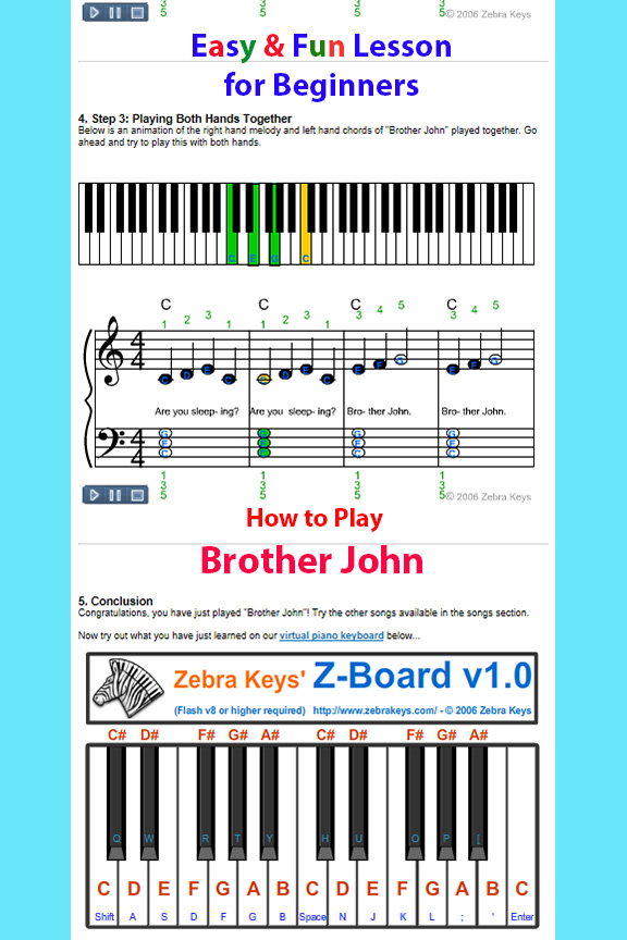 How to Play Brother John and Virtual Piano.1