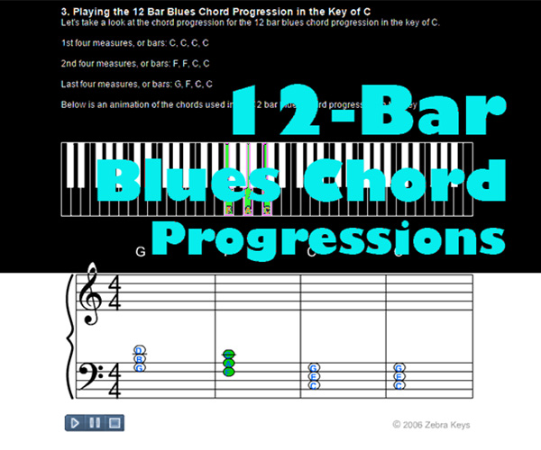 Piano 12 piano chords : 12 Bar Blues Chord Progression